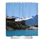 The Chalet At Lac Blanc Shower Curtain by Camilla Brattemark