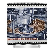 The Chocolate Factory Vintage Postage Stamp Shower Curtain