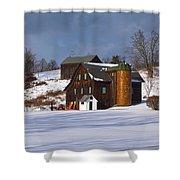 The Christmas Barn Shower Curtain