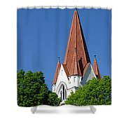 The Chuch Tower- Silute- Lithuania Shower Curtain