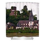 The Church And Heimburg In Niederheimsbach Am Rhein Shower Curtain
