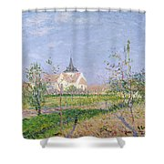 The Church At Vaudreuil Shower Curtain by Gustave Loiseau