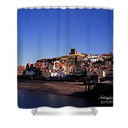 The Church Of St Mary's And Whitby Abbey North Yorkshire England Shower Curtain