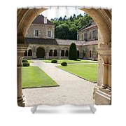 The Cloister Courtyard - Cloister Fontenay Shower Curtain