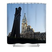 The Clothes Pin Statue And City Hall - Philadelphia Shower Curtain