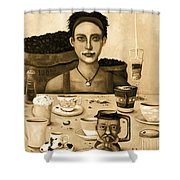 The Coffee Addict In Sepia Shower Curtain