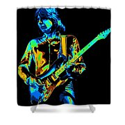 The Colorful Sound Of Mick Playing Guitar Shower Curtain