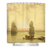 The Colossi Of Memnon Shower Curtain by David Roberts