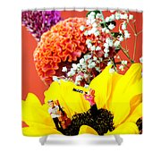 The Concert In The Flower Miniature Art Shower Curtain by Paul Ge