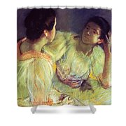 The Conversation Shower Curtain by Mary Stevenson Cassatt