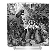 The Council Held By The Rats Shower Curtain by Gustave Dore