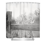 The Country Fence In Black And White Shower Curtain