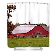 The Country Red Barn Shower Curtain