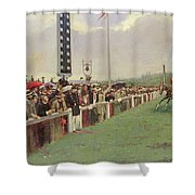 The Course At Longchamps Shower Curtain by Jean Beraud