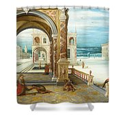 The Courtyard Of A Renaissance Palace Shower Curtain