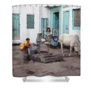 The Cow In The Yard Shower Curtain