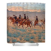 The Cowpunchers Shower Curtain by Frederic Remington