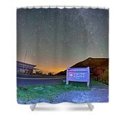 The Craggy Pinnacle Visitors Center At Night Shower Curtain