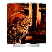 The Crane Yard Cat Shower Curtain
