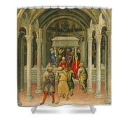 The Crippled And Sick Cured At The Tomb Of Saint Nicholas Shower Curtain by Gentile da Fabriano