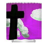 The Cross On Purple Shower Curtain