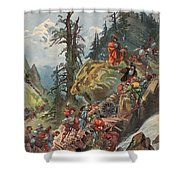 The Crossing Of The Alps, Illustration Shower Curtain