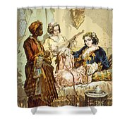 The Cup Of Coffee Two Women Taking Shower Curtain by Amadeo Preziosi
