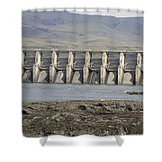The Dalles Dam Along Columbia River Shower Curtain