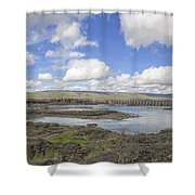 The Dalles Dam And Bridge Across Columbia River Shower Curtain