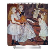 The Daughters Of Catulle Mendes Shower Curtain by Pierre Auguste Renoir