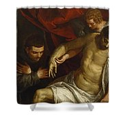 The Dead Christ Supported By An Angel And Adored By A Franciscan Shower Curtain