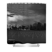 The Dead Lie Here Shower Curtain