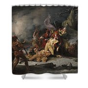 The Death Of General Montgomery In The Attack On Quebec, December 31, 1775, 1786 Oil On Canvas Shower Curtain