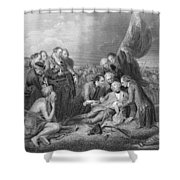 The Death Of General Wolfe, 1759, From The History Of The United States, Vol. I, By Charles Mackay Shower Curtain