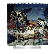 The Death Of Ravana Shower Curtain by Fernand Cormon