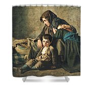 The Death Of The Pauper Oil On Canvas Shower Curtain
