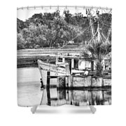The Debbie-john Shrimp Boat Shower Curtain