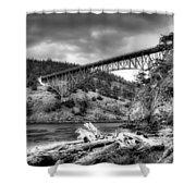 The Deception Pass Bridge II Bw Shower Curtain