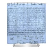 The Declaration Of Independence In Cyan Shower Curtain