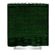 The Declaration Of Independence In Negative Green Shower Curtain by Rob Hans