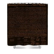 The Declaration Of Independence In Negative Orange Shower Curtain