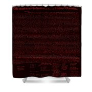 The Declaration Of Independence In Negative Red Shower Curtain