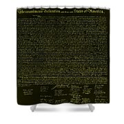 The Declaration Of Independence In Negative Yellow Shower Curtain