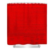 The Declaration Of Independence In Red Shower Curtain