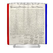 The Declaration Of Independence In Red White And Blue Shower Curtain by Rob Hans
