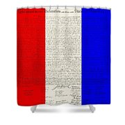 The Declaration Of Independence In Red White Blue Shower Curtain by Rob Hans