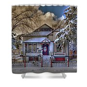 The Decorated Little House In The Snow Shower Curtain