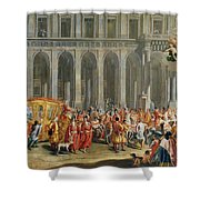 The Departure Of Alois Thomas Von Harrach, Viceroy Of Naples 1669-1742 From The Palazzo Reale Di Shower Curtain