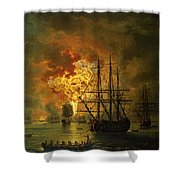 The Destruction Of The Turkish Fleet At The Bay Of Chesma Shower Curtain by Jacob Philippe Hackert