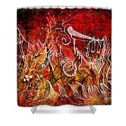 The Devil's Markings Illuminate The Fires Of Hell Shower Curtain